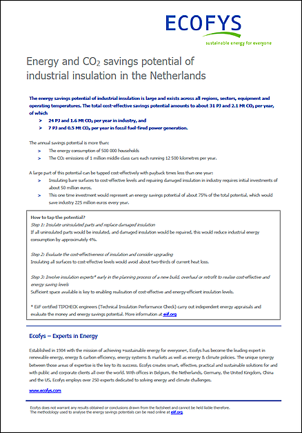 Energy and CO2 savings potential of industrial insulation in the Netherlands - VIB Ondernemers in het Thermisch Isolatiebedrijf
