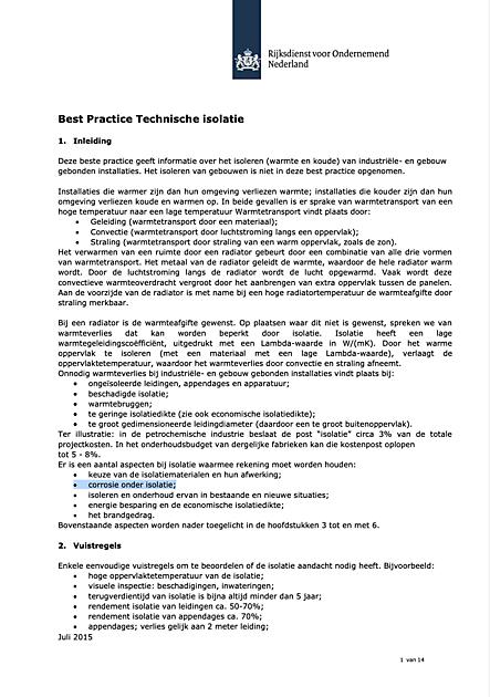 RVO: Best Practice Technische isolatie - VIB Ondernemers in het Thermisch Isolatiebedrijf