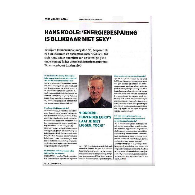 VNO-NCW, Opinieblad FORUM, 5 vragen aan Hans Koole - VIB Ondernemers in het Thermisch Isolatiebedrijf